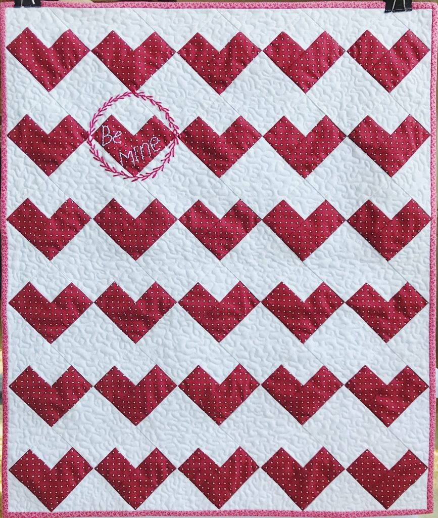 Red and white heart quilt