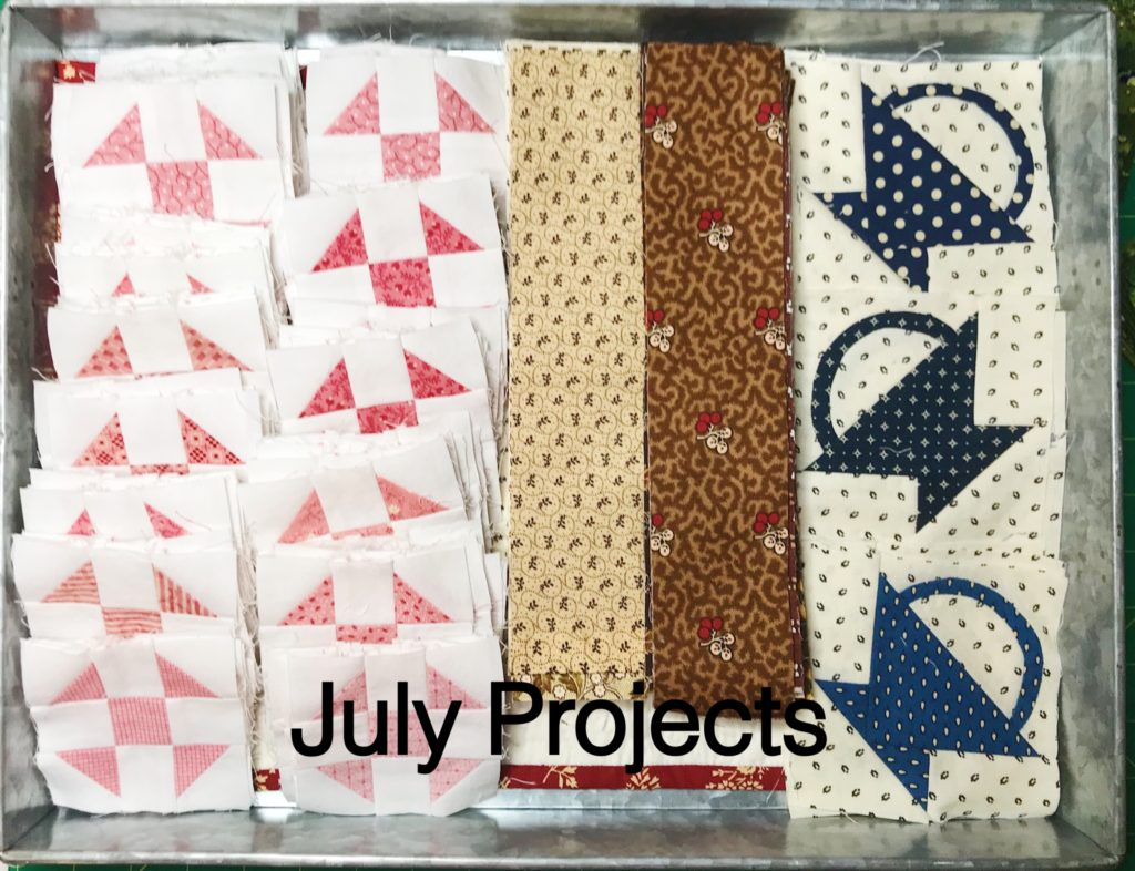quilt blocks in a tray